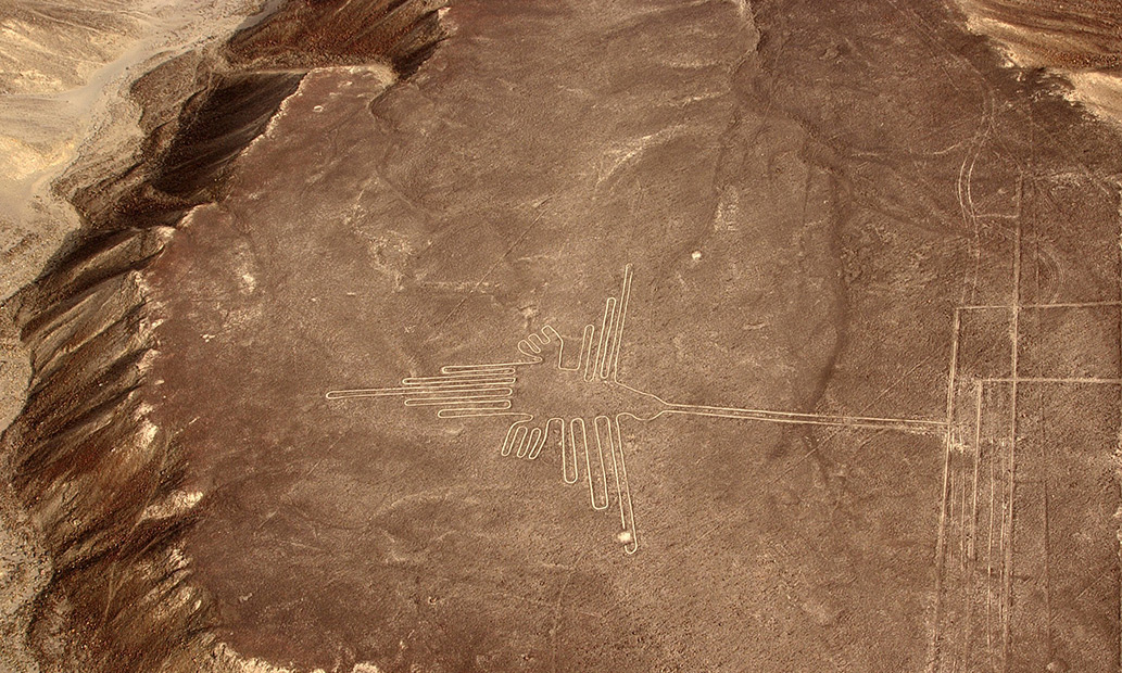 Nazca Line figure of a hummingbird
