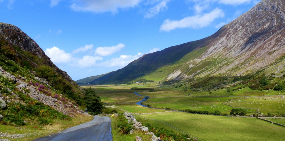 Nant Ffrancon Valley and road North Wales