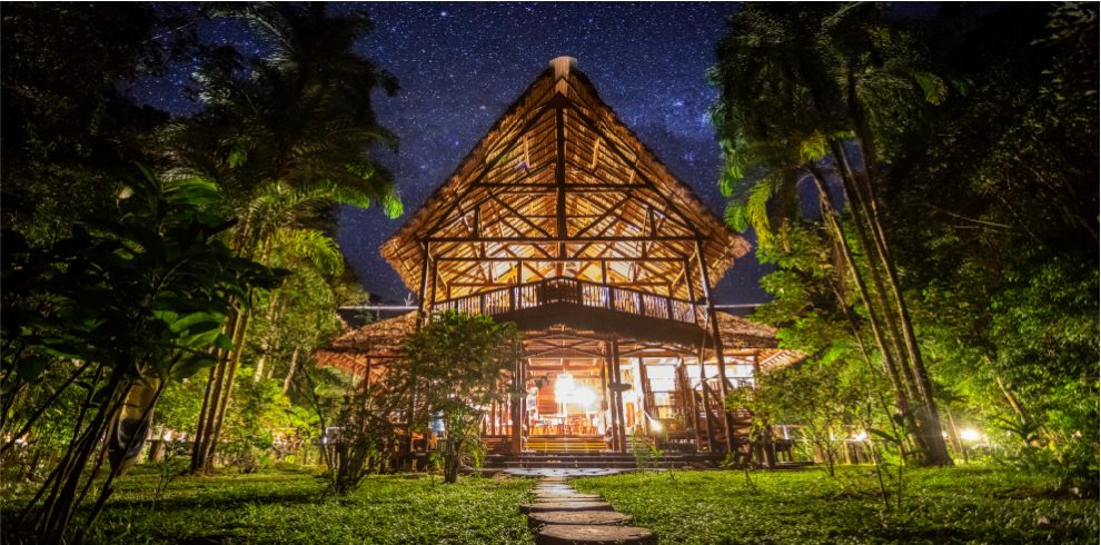 Rainforest Expeditions - Refugio Amazonas - Entrance at night